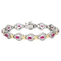 Wholesale 4 Carat Ruby and Diamond 24K Gold On Silver Heart Bracelet from china suppliers