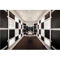Buy cheap Eyeglass display case Optical store interior design by Wall eyeglass display cabinets in Black with White glossy racks from wholesalers