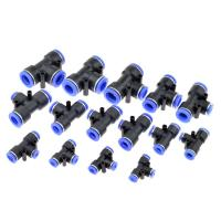 Quality 3 Way T shaped Tee Pneumatic 10mm 8mm 12mm 6mm 4mm 16mm OD Hose Tube Push In Air for sale