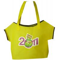 Quality 75g Yellow T- shirt shape cute design advertising non woven carry bag for sale