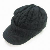 Wholesale Women's Cable Knitted Hat with Peak, Made of 100% Soft Acrylic from china suppliers