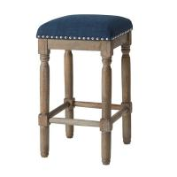 Wholesale Solid Wood Legs Padded Bar Stools For Home , Blue Kitchen Counter Stools from china suppliers