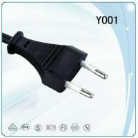 Quality VDE 2 round pin copper wire Power cable with vertical plug and socket for sale