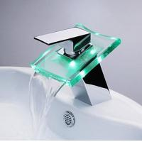 3 RGB Color LED Lighted Waterfall Sink Faucet