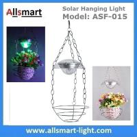 Wholesale Stainless Steel Flower Hanging Basket With Solar LED Light RGB Color Changing Wind Bell Lamp Red Green Blue LED Color from china suppliers
