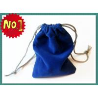 Wholesale Smart Blue Velvet Drawstring Bag Silk Screen Printing , Eco-Friendly Velvet Fabric from china suppliers