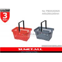 Wholesale Colorful Hand Shopping Baskets , Rolling Plastic Hand Basket 22L For Grocery Stores from china suppliers