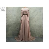 China Gold Brown Princess Ball Gown Off Shoulder Long Tail With Puffy Ruffles Pleats for sale
