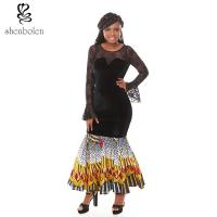 Wholesale Summer Lace Batik Cloth Stitching Long Sleeves Modern African Dresses Novelty from china suppliers