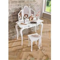 Wholesale Home Decor Solid Wood Dressing table lilly White Set With Mirror And Stool from china suppliers