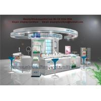 Wholesale Circular Cosmetics Display Kiosk by White Counters and Cabinet with tempered glass Shelves from china suppliers