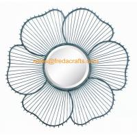 Wholesale China Factory Metal Wire Decorated Sunflower Shape Wall Mirror For Home Decor from china suppliers
