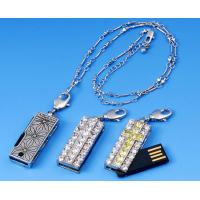 Wholesale Silver White Metal & Crystal Necklace Jewelry Usb Flash Drives Memory Disk 1GB, 2GB from china suppliers