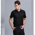 100% Cotton Casual Work Uniforms , Durable Short Sleeve Black Work Shirt For Men for sale