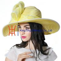 Wholesale Spring Womens Church Hats Customized  Yellow  Fabric Fashion for Party from china suppliers