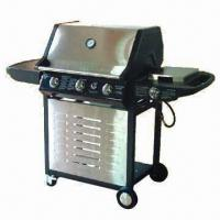 Wholesale Mobile Gas Barbecue Grill with Three Burners and Porcelain Enamel Cast Iron Hot Grid from china suppliers