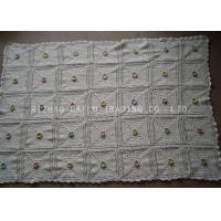 Wholesale Small White Handmade Crochet Blankets Square Hand Knitted Baby Blankets from china suppliers