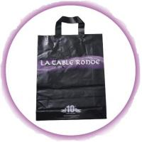 Wholesale Black Soft Flexible Loop Handle Plastic Bags With Custom Printing from china suppliers