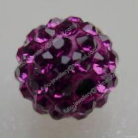 Wholesale Fuchsia Clay Shamballa Pave Beads In Size 6mm, 8mm, 10mm, 12mm from china suppliers
