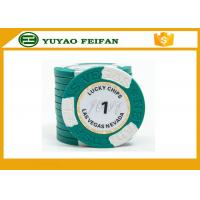 Wholesale Clay Two block TEXAS HOLDEM poker chips with Paper Stickers and engraved words on the surface from china suppliers