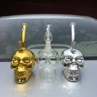 Quality 2017 new glass bong gold skull glass rigs 14mm joint boro glass water pipes for sale