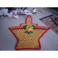 Wholesale Overlocking Crochet Christmas Tree Ornaments Flowers Shape Yellow Basket With Red Border from china suppliers