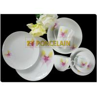 SUPERWHITE 30  pcs porcelain coupe dinnerware sets with Butterfly decal on glaze