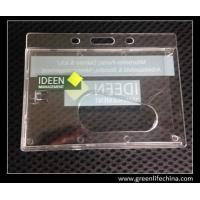Wholesale Horizontal rigid tranpsarent rigid hard card holder for ID name cards with custom logo from china suppliers