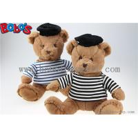 Buy cheap Navy Teddy Bear Plush Gift Soft Bear Toys with Sailor's Striped Shirt and Black Cap from wholesalers
