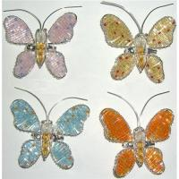 Wholesale BEADED WIRE BUTTERFLY WITH A PIN BEHIND, 4 COLORS, WIRE/BEAD CRAFT from china suppliers