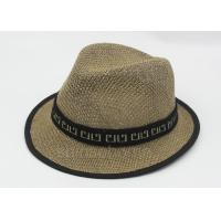 Wholesale Summer Man Straw Fishing Bucket Hat Cap Brown 58cm With Ribbon from china suppliers