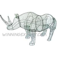 "Wholesale 36"" WIRE TOPIARY FRAME-RIHNOCEROS IN GREEN LACQUERED from china suppliers"
