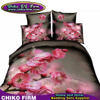 Wholesale Peach Flower Design 3D Bedding Sets with Duvet Cover Flat Sheet Pillow Cases from china suppliers