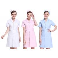 Quality Short Sleeve White / Pink Nurse Uniform Dress With Long Style Coat for sale