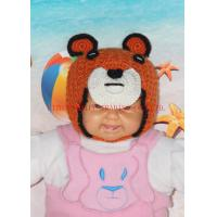 Wholesale Lovely Animal Bear Hand Made Crochet Warm Earflap Crochet Baby Hats With Strap from china suppliers