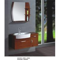 Wholesale Light brown flush solid oak bathroom wall cabinet , single sink bathroom vanity cabinets from china suppliers