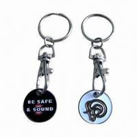 Wholesale Nickel-plated Coin Keychain, Made of Iron Metal, Customized Logos are Welcome from china suppliers