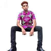 Wholesale Men African Print Tops , Short Sleeve Print Top Shirts Spring / Summer / Autumn from china suppliers
