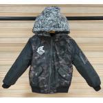 China Soft Kids Winter Down Jacket , Kids Black Bomber Jacket Detachable Fleece Hoody for sale
