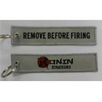 Quality Ronin Strategies Remove Before Firing Custom Logo Embroidery Fabric Keychain for sale