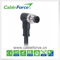 Wholesale M12 4pin male A-Coding right angled circular connector with cable CNC screw from china suppliers