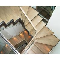 Wholesale Wooden Straight Staircase Design With Glass Railing for House from china suppliers