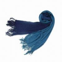 Wholesale Lady's Light Scarf with Dip Dyed Effect, Made of 100% Acrylic, Various Colors are Available from china suppliers