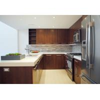 Wholesale Walnut Flat Panel Wood Veneer Kitchen Cabinets U Shape With Breakfast Table from china suppliers