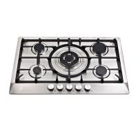 Wholesale Stainless Steel Five Burner Gas Hob With Cast Iron Pan Supports / Auto Ignition from china suppliers