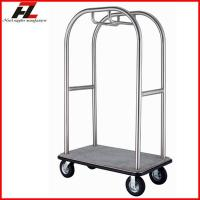 Quality Brushed Finished Hotel Heavy Duty Luggage Trolley with Pneumatic Wheel for sale