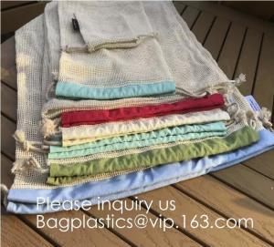 Wholesale Portable/Reusable/Washable Cotton Mesh String Organic Organizer Shopping Handbag Long Handle Net Tote (Grey Blue/Black/B from china suppliers