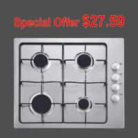Wholesale White 4 Burner Gas Hob Stainless Steel With Pulse Igniton Enamel Pan Support from china suppliers