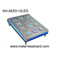 Wholesale Back light Metal Numeric Keypad in 3x4 Matrix 12 Keys , Stainless Steel Keypad from china suppliers
