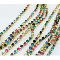 Wholesale brass rhinestone cup chain trimming mixed color stones from china suppliers
